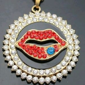 Betsey Johnson Crystal Circular Sexy Lips Pendant